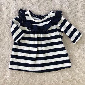 Baby Gap Blue Stripe Dress 0-3 Months Cream